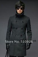 Free Shipping 2012 South Korean Men's Double Platoon Overcoat Fashion Dust Coat Cotton Jacket black gray Colors Size M L XL XXL