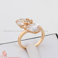 Кольцо J0942 Fashion Design Twin Zircon CZ Engagement 18K Gold Plated Wedding Ring Austrian Crystals Full Sizes