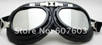 In stock 2013 new Motorcycle Scooter Steampunk Cruiser Helmet Goggle Eyewear Silver Lens T01H