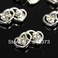 Стразы для ногтей 6X11MM Salon 3D Alloy Rhinestones Charm Double Heart Nail Art Tips Phone Craft DIY Desgin Decoration 100PCS/LOT