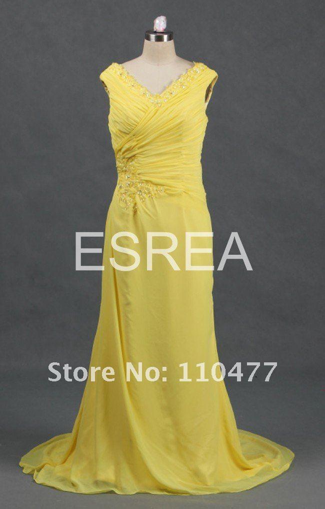 Ruffle elegant style strapless chapel train wedding yellow dress
