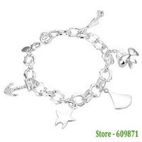 Free Shipping Lowest Price Wholesale 925 Sterling silver Fine love of sea  jewelry Bracelet LQ-H175