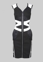 New Arrival Women Zipper Dress Black White Graphic Formal Cocktail Party Prom Dresses Wholesale KM1085-1