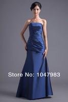Платье для подружки невесты New! Best Pleats Trumpet Strapless Blue Taffeta Floor Length Bridesmaid Dresses
