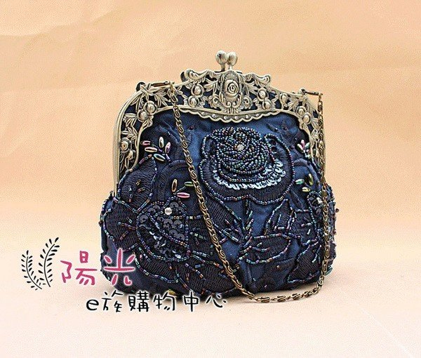 Free Shipping Wholesale Retail Navy Blue Women's Sequin Beaded Bag
