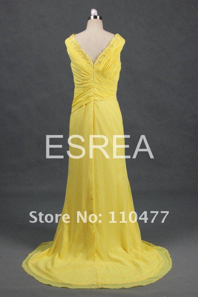 GF30 Real Sample Fashion Maxi Chiffon Yellow High Low Evening