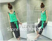 free shipping Summer hot new stitching Chiffon Polka Dot piece coveralls pants belt belt dms024