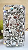 Чехол для для мобильных телефонов Luxury Bling Crystal 3D Skull Heads Galvanized hard case cover for iphone4 4g 4s