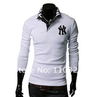 Мужская футболка 2012 new Mens T Shirt +Men's long Sleeve T Shirt slim fit, Polo shirt, cotton, 2colors, 3sizes, drop shipping MLT32