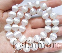 Бусины 8SE09450a 10mm white Agate Faceted Round beads 15.5