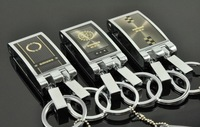 Authentic!Alloy keychains of upscale gift, 6pcs/lot double loop stainless steel waist hung a key ring 3662Waist buckle