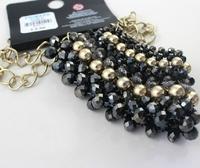 Колье-цепь Golden shiny black beaded necklace exaggerated personality