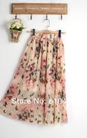 Женская юбка 2013 New Fashion Sweet Gentle Woman Bohemian Chiffon Butterfly Waist Pleated Skirt And Blouse Long Bust Skirt WOMENS