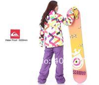Free shipping 2012 women snowboarding jacket best skiing clothing for women ski suit ride jacket girls anorak parka colorful bar
