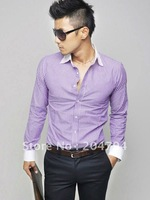 Мужская повседневная рубашка New Mens Casual Slim Fit Stylish Dress Shirts Colour:Blue, Purple US Size:S, M, L, XL 6046