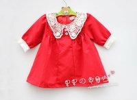 Sakura's Store CPAM FREE Lace Collar Children Long Sleeved Red Dress Girl Baby Dress