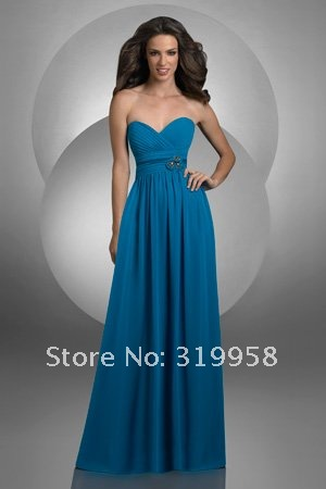 2012 Hot Blue Pink Sweetheart Ruffles Empire Beaded Long Fashion Bridesmaid dresses Evening Formal Party Prom dress Gowns Gown