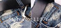 Free Shipping! Cool Broken Design Men Jeans Cool Men Jeans Pants Light Blue High Grade Fashion Straight Leg Casual Denim Pants