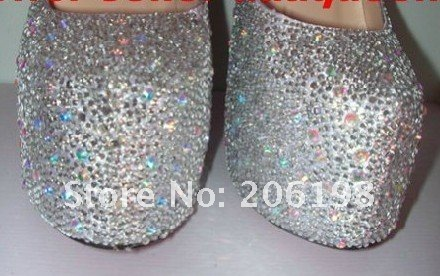 Free shipping  newest women's Crystal diamond wedding shoes, 16cm heels ladies' dress & Evening Shoes, eleven colours