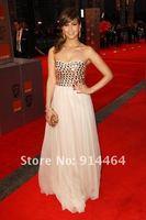 Rachel Stevens Fashion Strapless Slim Sheath Floor Length Crystals Chiffon  Light Yellow Lady Celebrity Dresses