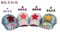 Шапка для мальчиков 1pc 7 colors New Children's baseball cap kids obey snapback caps Baby Five-pointed star patch denim sun cap