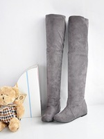 Free shipping Increased within the round flat matte stretch knee length boots