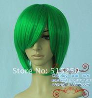 Шиньон New Short Green Cosplay hair Heat Rsistant Wig+weaving cap