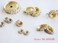11MM Rondelle Rhinestone Spacers, Gold / Silver Clear Crystal Round Spacer Bar, Jewelry / Costume / Shoes Fittings.