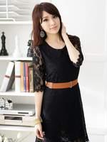 Ladies Plus Size Black Beige Half Sleeve Cute Peter Pan Collar Embroidery Flower Lace Crochet Summer Dress with Belt Size XL-4XL