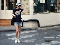 Женская футболка 2012 ladies' summer t-shirt short sleeve tops women's t shirt korean casual black printed cotton