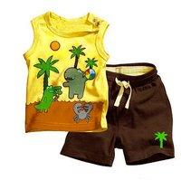 childrens clothing set 2 pcs suit boys Coconut animal vest + Shorts clothes whole suits outfits