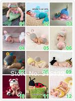 Free shipping 10sets/lot Fashion Cute Newborn Baby Girl Boys Toddler Handmade Crochet photography props