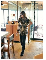 Женская футболка fashion cozy women clothes t-shirt blouse wild Chiffon Lace cotton Tiger head printing bat short-sleeved T-shirt