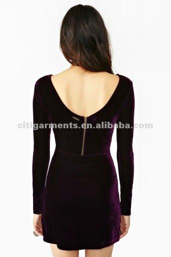 حار بيع الأزياء كم طويل فستان مخمل