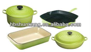 Deep Blue Cast Iron Stew Pot Enamel Cookware Set