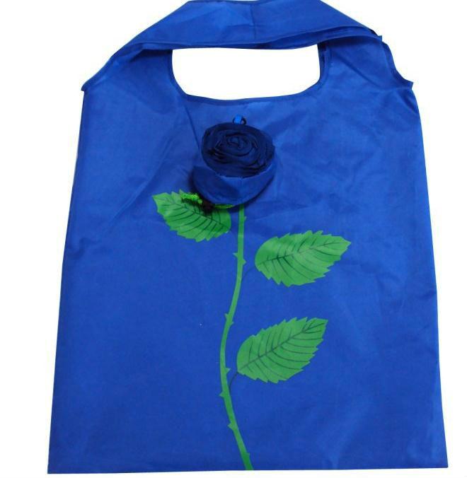 wholesale 190T Polyester folding rose shopping bag