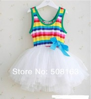 Платье для девочек 2014 Children's Clothing, Baby Girls Sleeveless Dress, Girl Rainbow Stripes one-piece with Bow, 4 colors