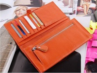 New 100% Cow Genuine Leather Women's Long Wallets,2 Money Places+6 Card Places+1 Zipper Pocket +dark laminated JJ621