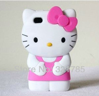Чехол для для мобильных телефонов Cute 3D Hello Kitty Shape Soft Silicone Case for iPhone 4 4S shell