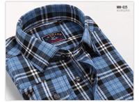 мужчины плюс размер моды длинный рукав рубашки случайным отшлифовать Клетчатая рубашка-gmm001