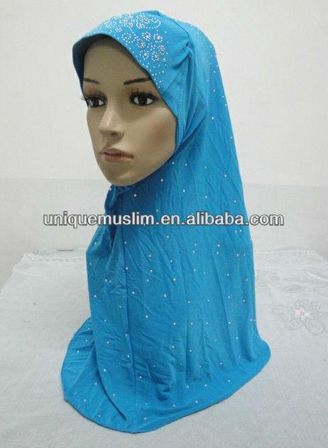 H160 new design one piece muslim hijab with rhinesones