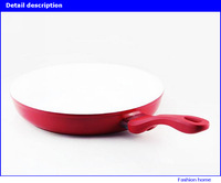 30cm Deutsch red ceramic pan ,ceramic coating inside and high resistant coating outside open frying pan,no cover