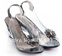 Женские сандалии New female shoes, fair maiden flowers fish mouth wedges women's high heels crystal fashion sandals