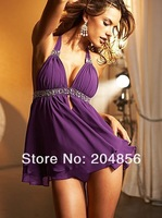 Free Shipping drop shipping white, purple, black Sexy Lingerie,Hot Sexy Underwear, Babydoll lingerie + G-string