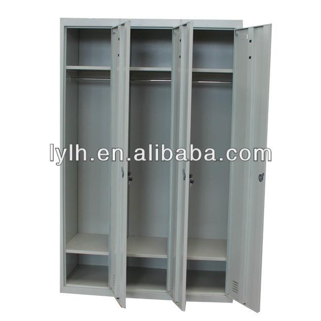 3 doors metal clothes storage cabinet/locker room bench for bedroom