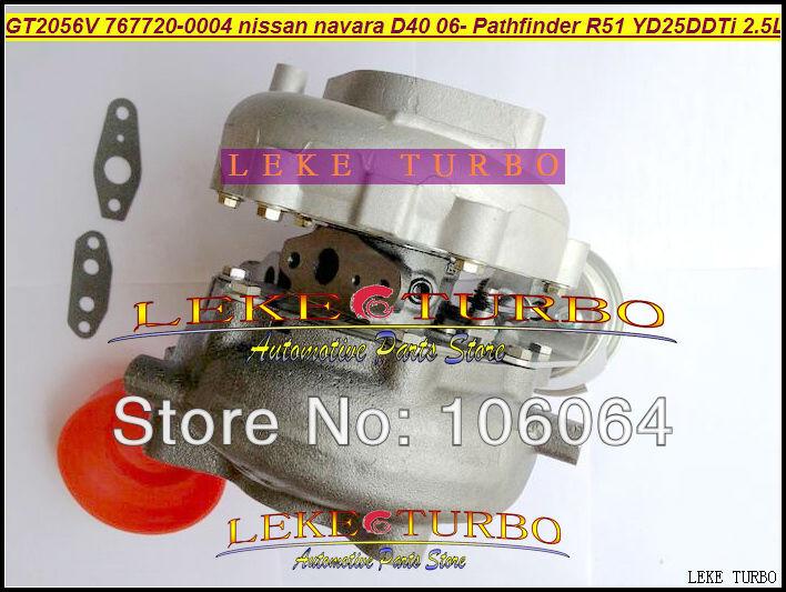GT2056V 767720-0004 14411-EB70A 14411-EB70B Turbo For NISSAN Navara D40 2006- Pathfinder R51 YD25 YD25DDTi 2.5L turbocharger (1)