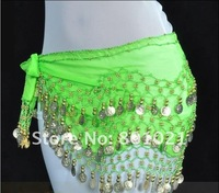 free shipping 128 coins belly dance accessory belly dance dress hip scarf belt,15 colors(can be mixed)