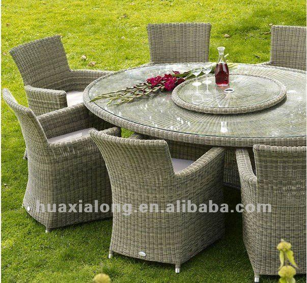 mobiliario de jardim em rattan sintetico:Round Patio Table Seats 8