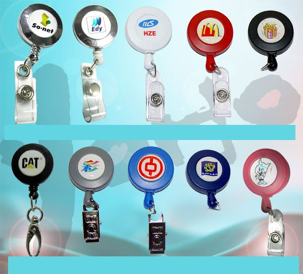 new and high quality promotion gift retractable badge REEL name card holder keychain