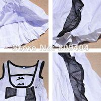 Sunlun Girls' Sleeveless Cotton Dress/High Waist/Bow Decoration/White/Pink/2012 New Arrival/Free Shipping